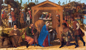 威尼斯,意大利- 2014年3月13日:牧羊人油漆的崇拜从14的乔凡尼Manuseti 分 免版税库存图片