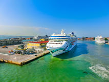 威尼斯,意大利- 2015年6月06日:由NCL的游轮挪威玉 免版税库存照片