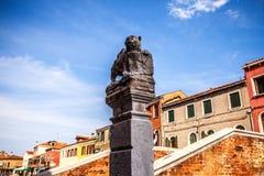 威尼斯,意大利- 2016年8月19日:著名威尼斯雕象&雕塑在历史名城北意大利2016年8月19日 免版税库存照片
