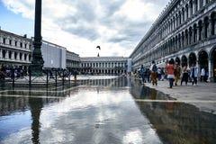 威尼斯,意大利9月12日2017年:在圣马克` s正方形的水位高 圣马克` s正方形洪水  库存照片