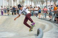 威尼斯,我们10月5日2014年:是空中是的溜冰板者 图库摄影