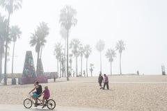威尼斯,我们10月5日2014年:骑自行车的夫妇制造为 免版税库存照片