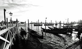 威尼斯,有迷人长平底船乘驾的意大利 免版税图库摄影
