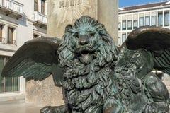 威尼斯, ITALY/EUROPE - 10月12日:在stat下的飞过的狮子 库存图片