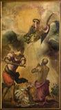 威尼斯-圣保罗的杀头(1556)教会圣玛丽亚小山谷Orto长老会的管辖区的雅格布Robusti (Tintoretto)  图库摄影