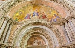 威尼斯-从圣马克大教堂的外部马赛克在主要门户 免版税库存照片