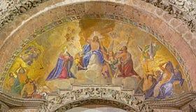 威尼斯-在圣马克大教堂门户的马赛克  免版税库存图片