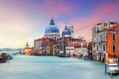 威尼斯-大运河和大教堂圣玛丽亚della致敬 免版税库存图片