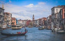 威尼斯-大运河-蓬特Di威尼斯大石桥 免版税库存照片