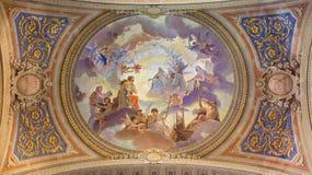 威尼斯-天花板被恢复的壁画在巴洛克式的教会圣玛丽从良的妓女或圣玛丽亚马达莱纳半岛里 图库摄影