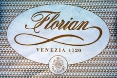 威尼斯-意大利的Caffe弗洛里安的商标 免版税库存照片