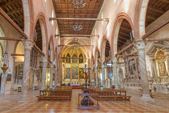 威尼斯-教会圣玛丽亚小山谷Orto内部  免版税图库摄影