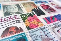 威尼斯- 4月15 :年迈的美国邮票纹理(美国邮政局- 免版税图库摄影