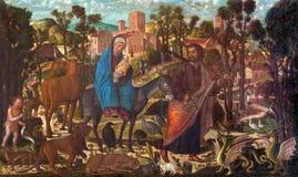 威尼斯-牧羊人油漆的崇拜从14的乔凡尼Manuseti 分 在圣马丁的圣马蒂诺教会里Burano的 库存图片