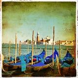 威尼斯-长平底船 免版税库存图片