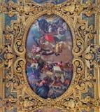 威尼斯- Cappella della SS天花板。从17。分的Vergine del罗萨里奥。在大教堂二圣乔凡尼e保罗教会里。 免版税库存图片