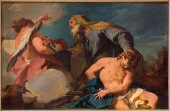 威尼斯- Sacrificio由G的di Isacco (亚伯拉罕和以撒) B Pittoni (1713)在教会圣弗朗切斯科della豇豆 库存图片