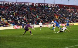 威岑扎,意大利- 2015年10月13日:UEFA以下的21冠军 免版税库存照片