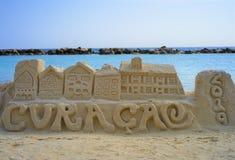 威廉斯塔德库拉索岛沙子雕塑  免版税库存图片