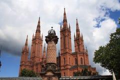 威斯巴登市场教会 库存照片