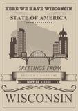 威斯康辛与城市剪影的传染媒介例证 美洲牛奶店国家 旅行明信片 库存例证