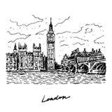 威斯敏斯特宫、伊丽莎白塔(大本钟)和威斯敏斯特桥梁的看法 向量例证