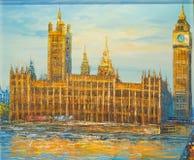 威斯敏斯特宫和伊丽莎白塔大本伦敦-油画 免版税库存照片