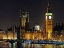 威斯敏斯特宫殿和大本钟在晚上,伦敦 免版税图库摄影