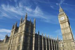 威斯敏斯特宫殿和大笨钟・伦敦蓝天Hor 库存照片