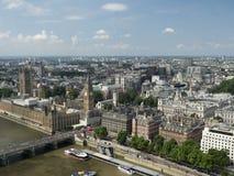 威斯敏斯特宫殿和泰晤士,看见从伦敦眼 免版税图库摄影