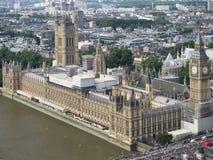 威斯敏斯特宫殿,伦敦,看见从伦敦眼 免版税库存图片