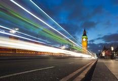 威斯敏斯特桥梁的大笨钟 免版税库存图片