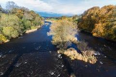 威河在干草的秋天在Y形支架 库存照片