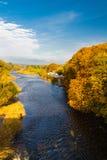 威河在干草的秋天在Y形支架 免版税库存图片