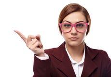 威胁与手指的严厉老师 免版税库存图片