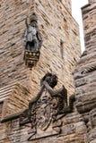威廉・华莱士雕象和徽章在全国华莱士的 库存照片