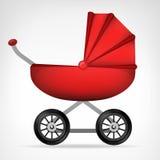 娘儿们红色婴儿推车对象被隔绝的传染媒介 库存图片