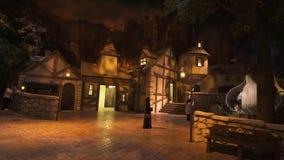 娱乐史瑞克的疆土在梦工厂中在迪拜公园和手段的Motiongate 免版税库存图片