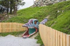 娱乐和冒险在三叠纪的Parc在Steinplatte,奥地利靠岸 免版税库存图片