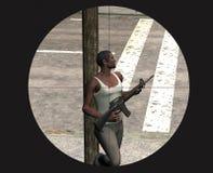 娱乐游戏猛烈狙击手的录影 库存照片