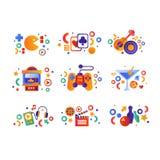 娱乐符号集,纸牌,音乐娱乐表现设备,娱乐游戏机器,电影 皇族释放例证