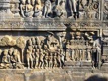 婆罗浮屠佛教寺庙 浅浮雕 杨梅 印度尼西亚 库存图片