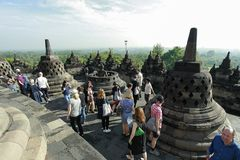 婆罗浮屠历史游览 免版税库存照片