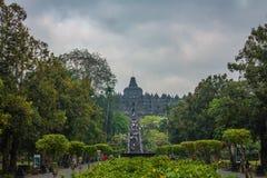 婆罗浮屠寺庙入口 免版税库存照片