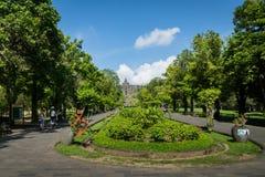 婆罗浮屠寺庙庭院区域在日惹, Java,印度尼西亚 库存图片