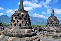 婆罗浮屠寺庙是旅游目的地在亚洲-印度尼西亚 免版税图库摄影