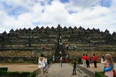 婆罗浮屠寺庙视图在日惹, Java,印度尼西亚 库存照片