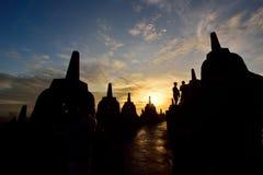婆罗浮屠, 9世纪佛教寺庙在马格朗,中爪哇省,印度尼西亚 库存照片