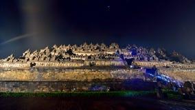 婆罗浮屠, 9世纪佛教寺庙在马格朗,中爪哇省 免版税库存图片