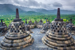 婆罗浮屠Buddist寺庙日惹。Java,印度尼西亚 免版税库存照片